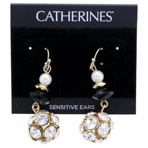 3/$20 Catherines gold & crystal dangles with pearl